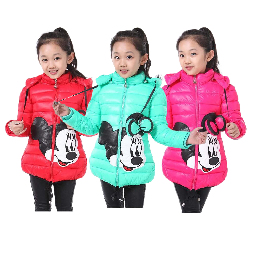 Big Size Winter Minnie Girls Jacket Snow Treasure Coats For Girls Cotton-padded Clothes Keeping Warm Kids Hoodies