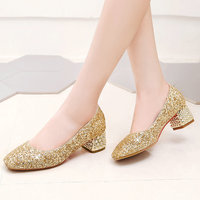2020 Women Shoes Spring Autumn Mary Jane Pumps Slip On Square Low Heels Fashion Sequined Party Laides Shoes Gold Silver Red