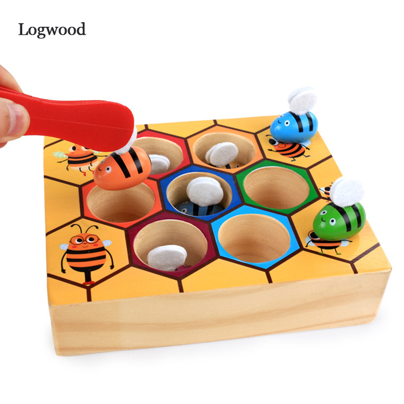 Wooden Toy Building Block Leaning Education  Montessori Hardworking Bee Hive Games For Children Clip Toys