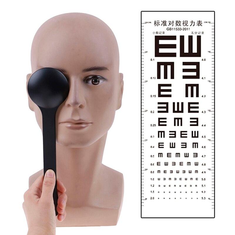 Eye Occluder Professional Handheld Optometry Tool Eye Occluder Block Plate For Vision Test Eyesight Exam Transparent/black