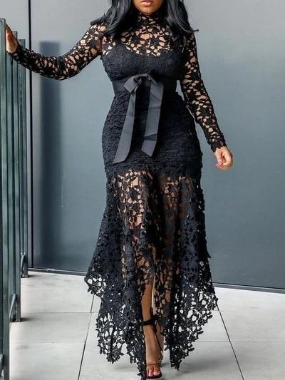Echoine Slim Sexy Dress Women Spaghetti Straps Lace Mesh Perspective Party Fishtail Patchwork Midi Bodycon Plus Size Vestidos 5