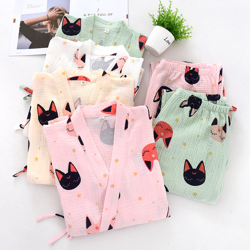 Japanese 100% crepe cotton kimono robes women pajamas sets kawaii sweet Cartoon orange women sleepwear bathrobes plus size|Pajama Sets| - AliExpress