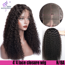 Curly Lace Closure Human Hair Wigs 4*4 Lace Closure Wig Brazilian High Radio Remy Human Hair Wig Pre Plucked Modern Show