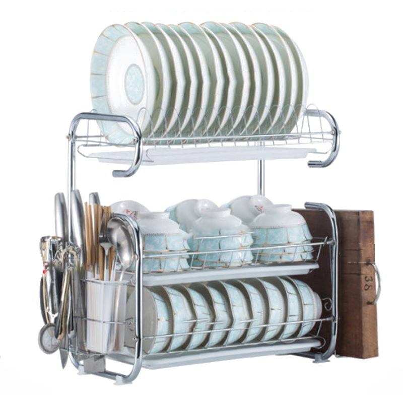 Stainless Steel Drain Dish Rack Kitchen Rack Storage Rack Cupboard Kitchen Organizer Storage Box Cooking Tool Rack