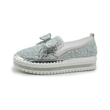 Crystal Bow Shoes Women Rhinestones Woman Sneakers Platform Trainers Women Shoes Casual Lace-Up Tenis Feminino Zapatos De Mujer 2018 new brand shoes woman women flats couples sneakers casual zapatos mujer tenis feminino chaussures femme lace up