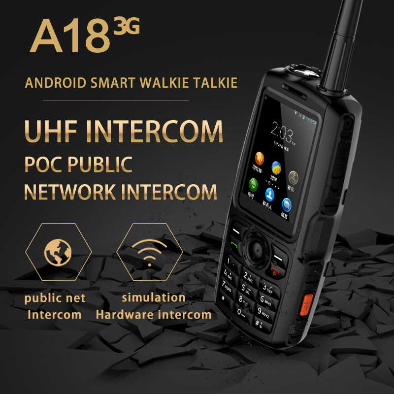 A18 ip68 zello inteligente walkie talkie telefone móvel android ptt uhf intercom 2.4 mah speaker 3800 mah mt6572 5mp câmera poc estéreo alto-falante