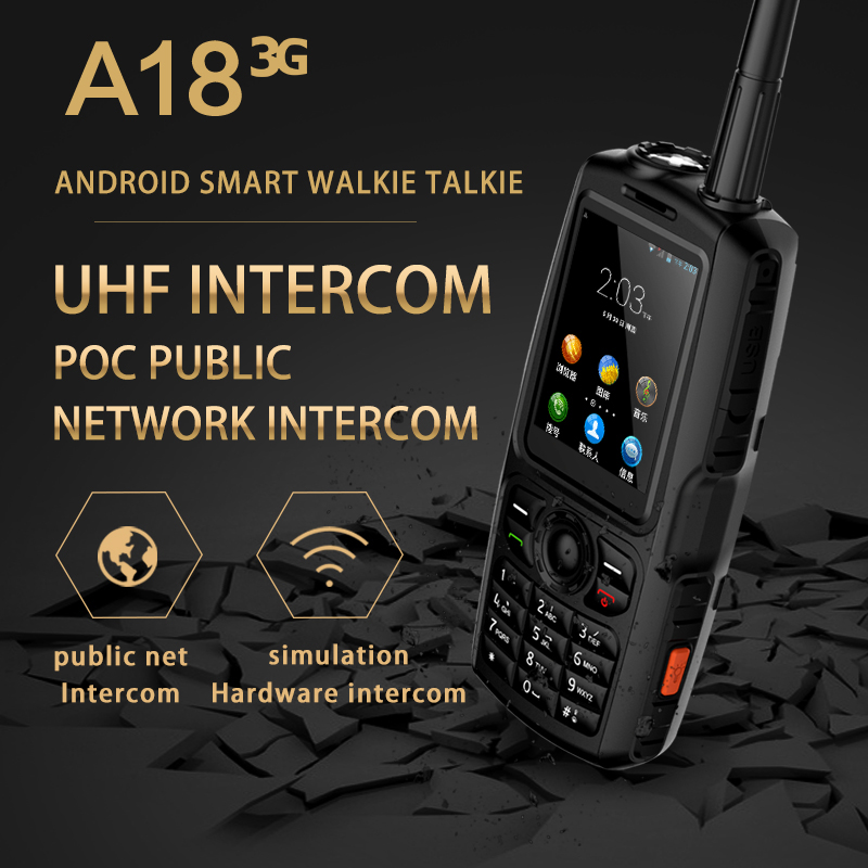 A18 IP68 Zello Smart Walkie Talkie Android Mobile Phone PTT UHF Intercom 2.4'' 3800mAh MT6572 5MP Camera POC Stereo Speaker