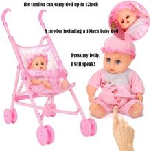 Baby Doll Stroller Nursery Furniture Toys Dolls Carriage Foldable With For 12inch Mini Gift for Kid