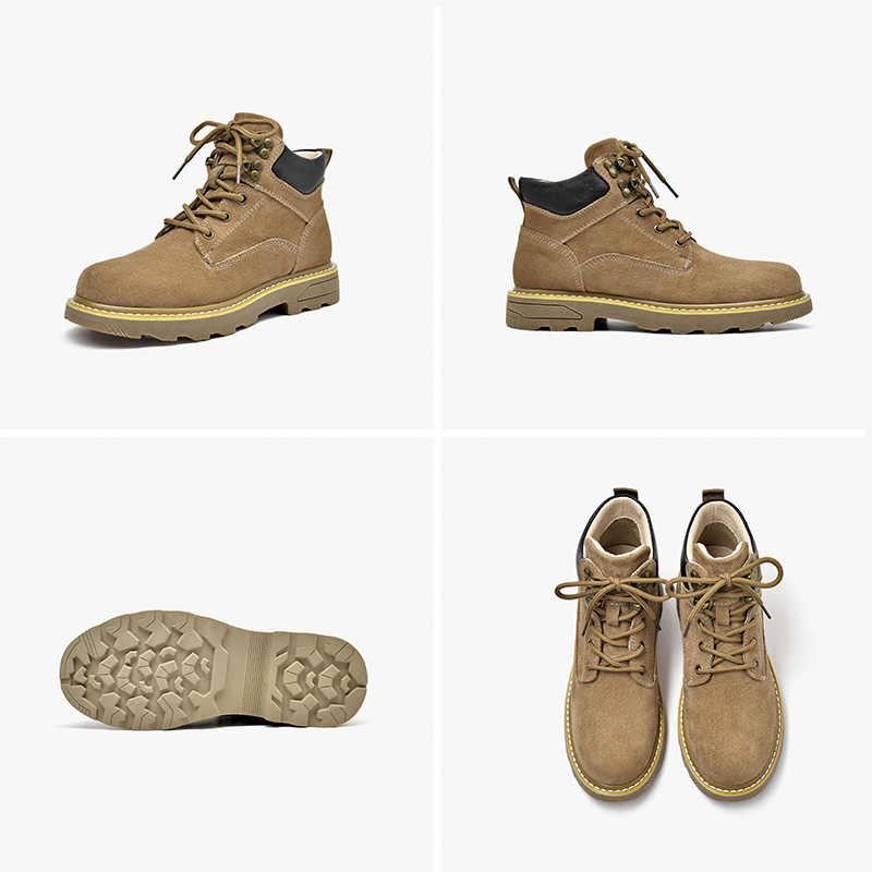 BeauToday yarım çizmeler kadın hakiki deri domuz süet çöl botları yuvarlak ayak Lace Up moda bayan ayakkabı el yapımı 04029