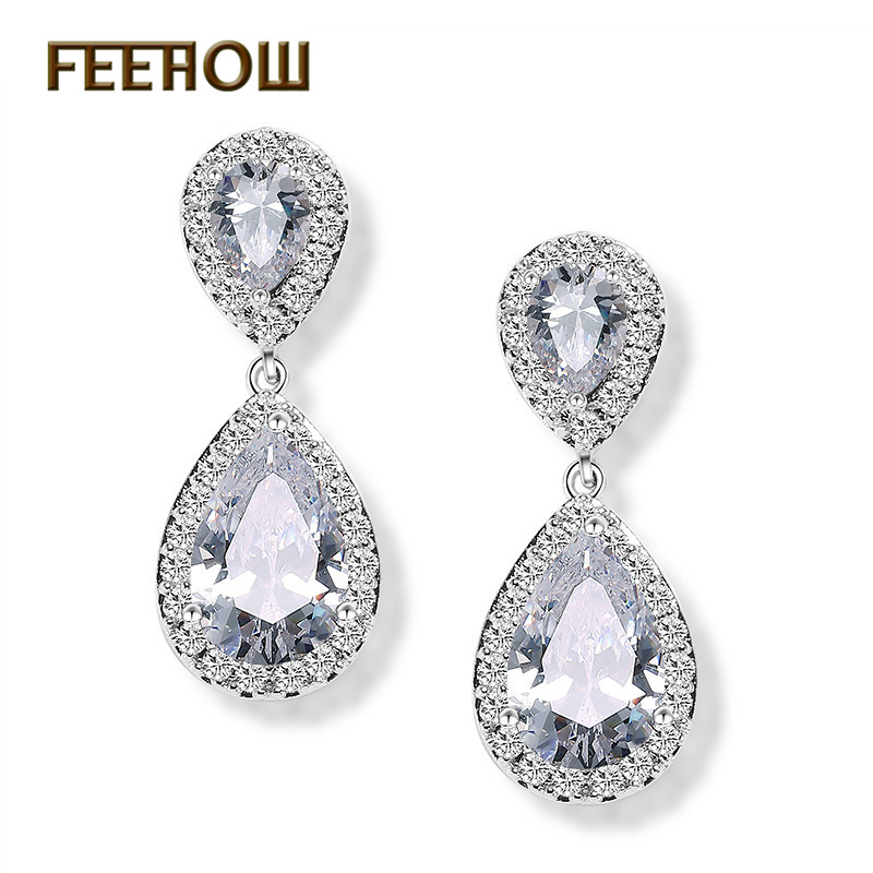 Feehow moda elegante jóias de noiva rosa cor ouro lágrima zircão cúbico balançar brincos para festa casamento feminino fwep091