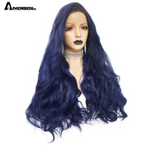 Image 3 - Anogol Dark Verwurzelt Ombre Blau Hohe Temperatur Faser Brasilianische Haar Peruca Lange Natürliche Welle Synthetische Lace Front Perücke Für Frauen