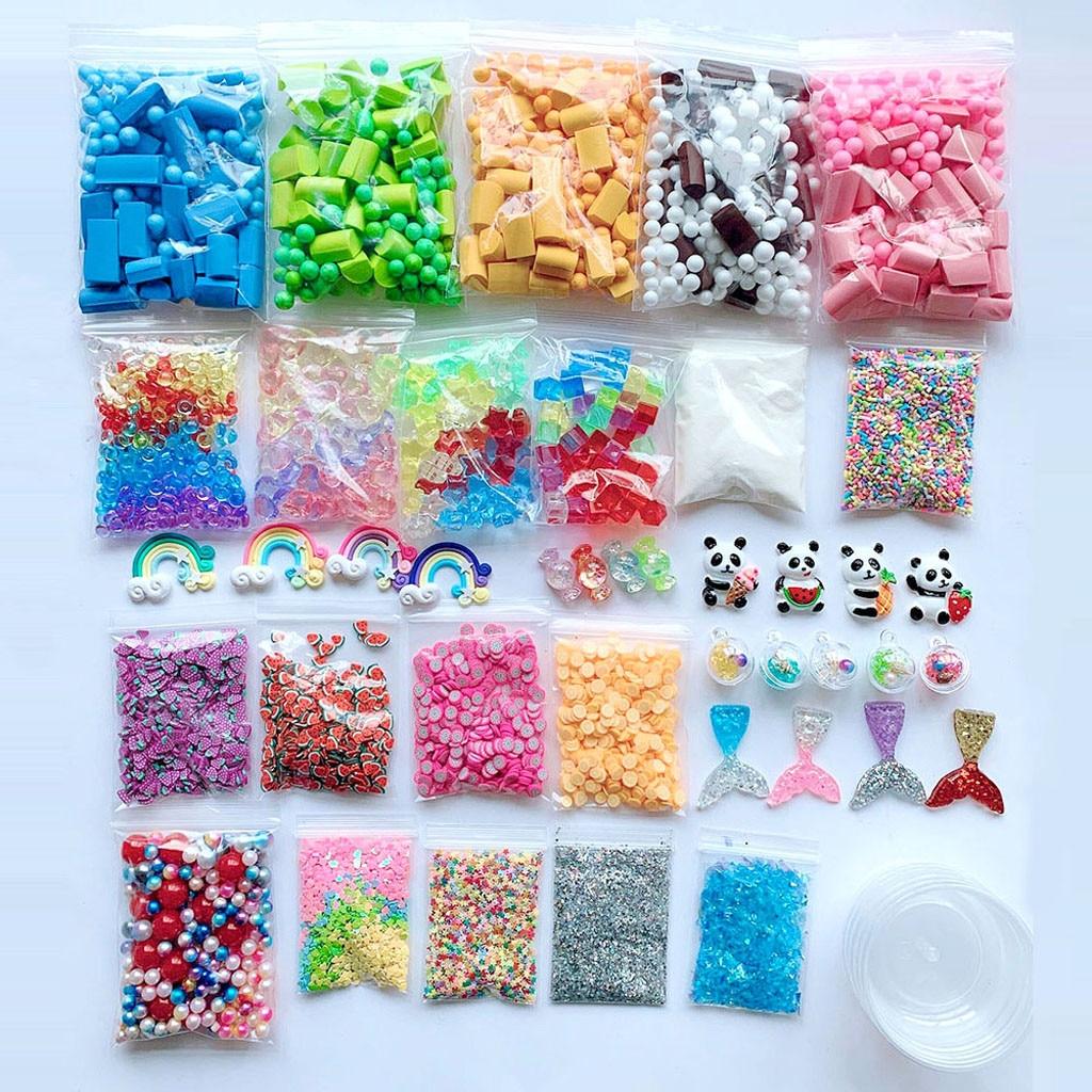 Baby Kids Toys Slime Supplies Kit Foam Beads Charms Styrofoam Balls Tools For DIY Slime Making Birthday Christmas Gifts For Kid