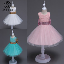 Skyyue Flower Girl Dress for Wedding Embroidery Tulle Communion Gown O-Neck Sequined Kids Party Dresses 2019 147