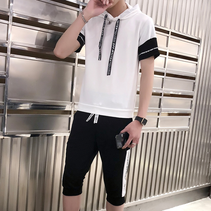 Xia T-shirt Set Men's 2019 Summer New Style INS Popular Brand Slim Fit Hooded Short Sleeve T-shirt Capri Pants Casual Sports Set