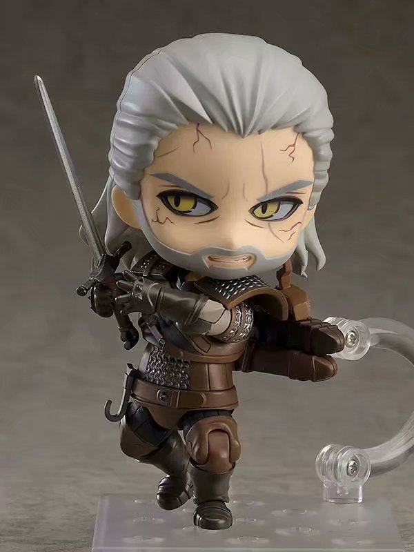 10CM Q version Witcher ed 3 Wild Hunt 907 Geralt White Wolf Geralt PVC Action Figures