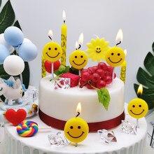 Smokeless smiley bolo decoração vela dos desenhos animados festa das crianças bonito decoração vela sorriso família festa atmosfera