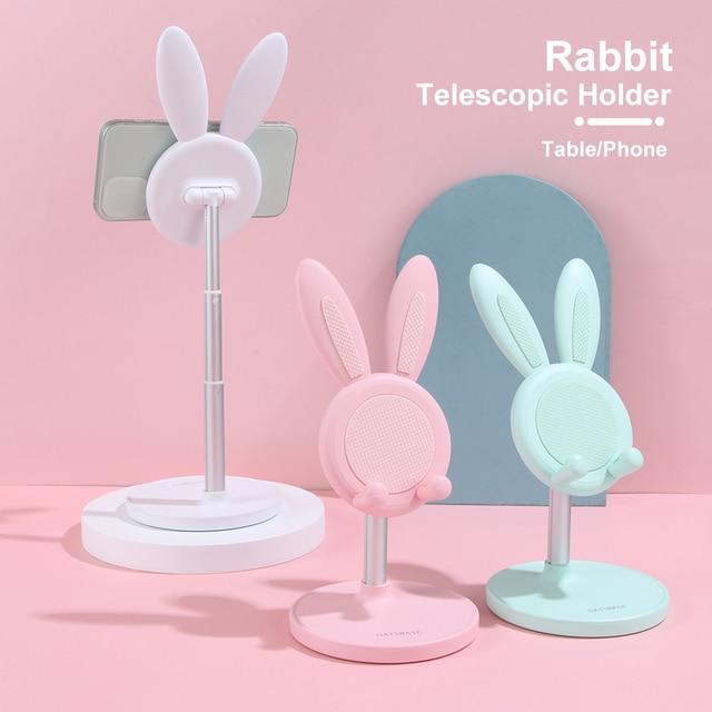 Telescopic Cartoon Rabbit Ears Mobile Phone Holder Adjustable Tablet Stand Cute Bunny Desktop Rack Durable Phone Accessories