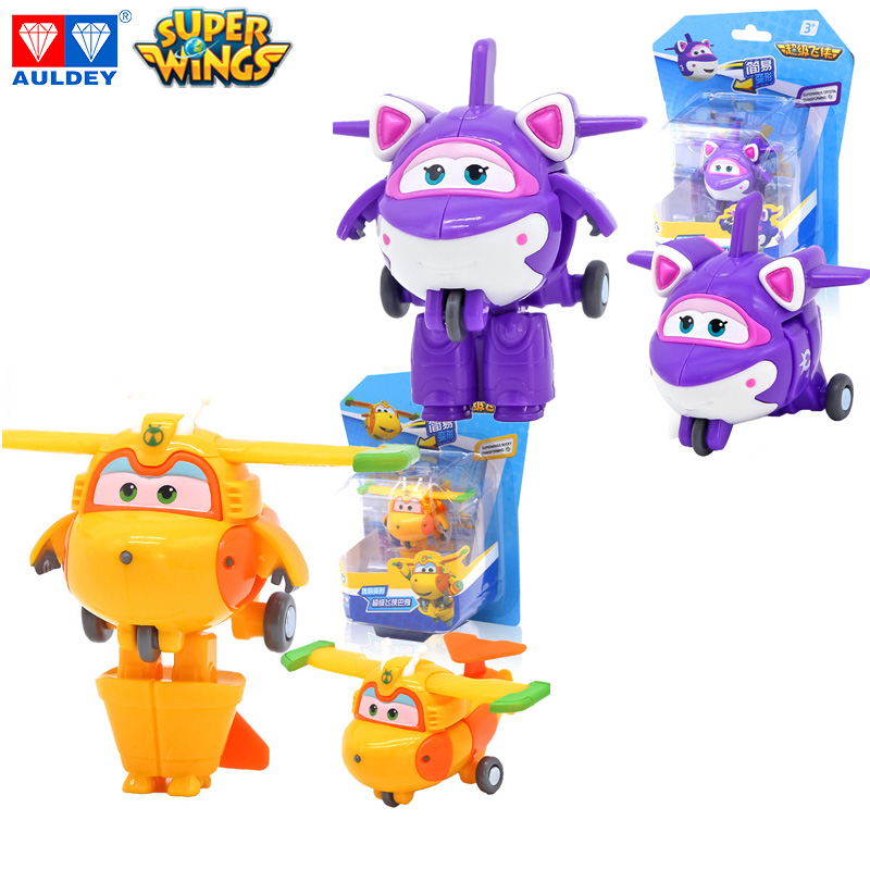AULDEY Mini Super Wings New Season KRYSTAL BUCKY Deformation Action Figures Original Toy Transforming Jet Height Around 5cm
