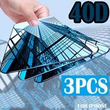 3 adet tam kapak ekran koruyucu için iPhone 6 7 8 6S artı temperli cam iPhone X XR XS MAX koruyucu cam filmi