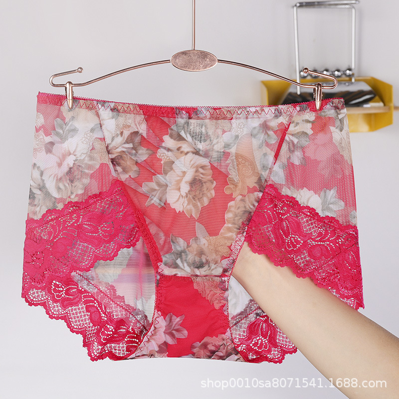 Image 5 - New design ultra soft mesh printed panties sexy lace panties women modal crotch women sexy transparent mid rise briefswomens panties   -