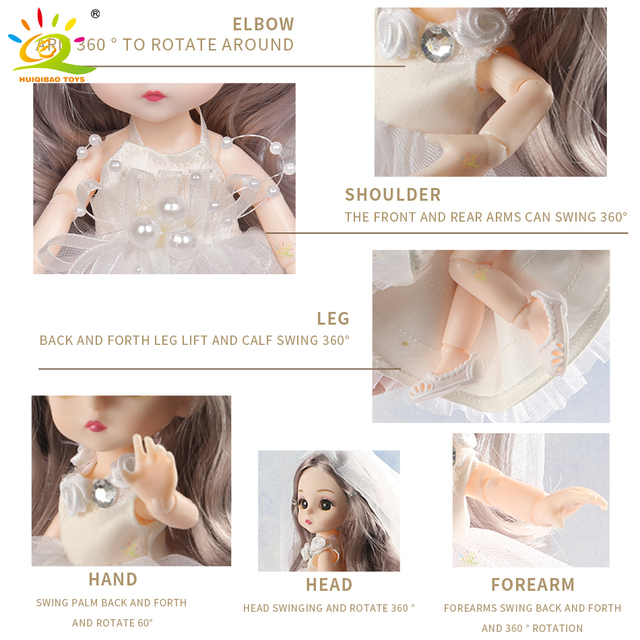 6pcs 5.9inch 13 Moveable Fashion bjd Boneca Dolls Joint body Ball Jointed Reborn Wedding Dress Make Up Dolls Toys Gift For Girls 6