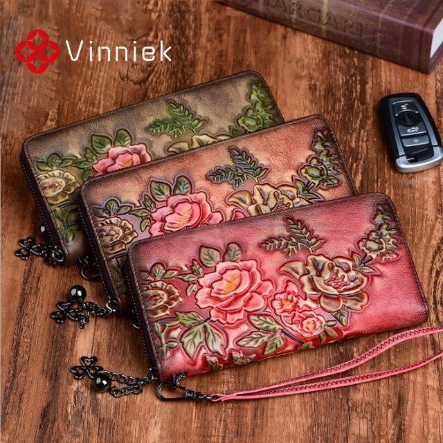 정품 가죽 빈티지 여성 지갑 양각 된 여성 지갑 레트로 여러 카드 홀더 일일 클러치 긴 표준 지갑