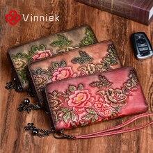 Cartera Vintage de piel auténtica para mujer, monedero con relieve, Tarjetero con compartimento para varias tarjetas, bolso de mano diario, billeteras estándar largo