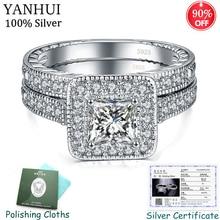 С сертификатом,, 925 серебряные кольца, наборы для женщин, блестящие стразы, циркон, двойное штабелируемое кольцо, свадебные ювелирные изделия CER293