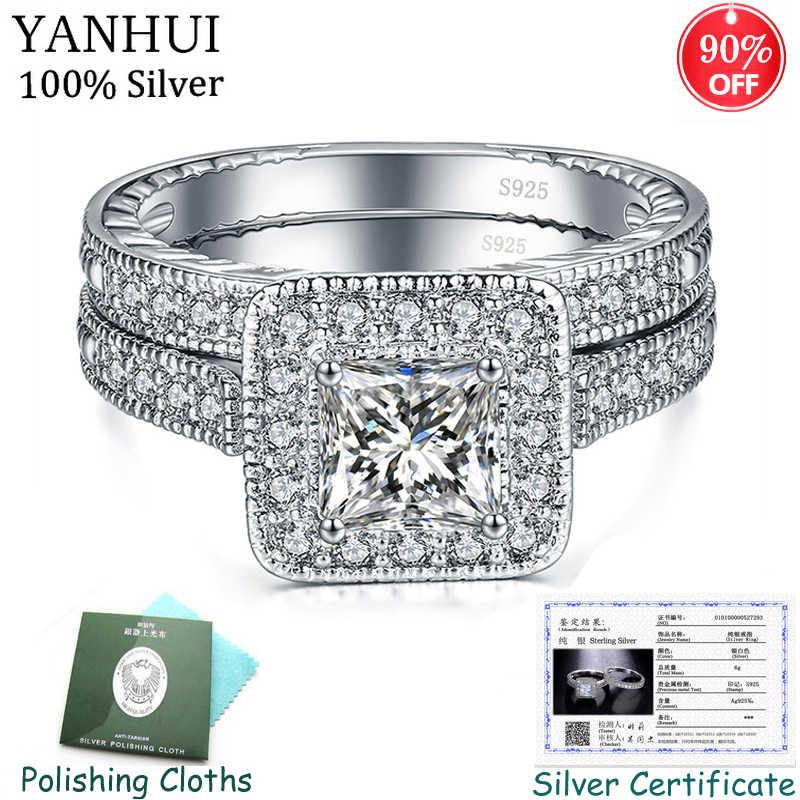 С сертификатом, оригинал, 925 серебряные кольца, наборы для женщин, блестящие стразы, циркон, двойное штабелируемое кольцо, свадебные ювелирные изделия CER293