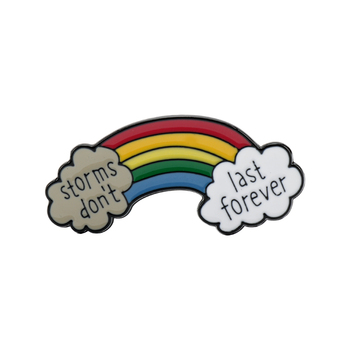 Cartoon Rainbow Shape Brooch Jewelry Storms Don't Last Forever Enamel Metal Lapel Pin Brooches FOLLOW YOUR DAYDREAM Letter image