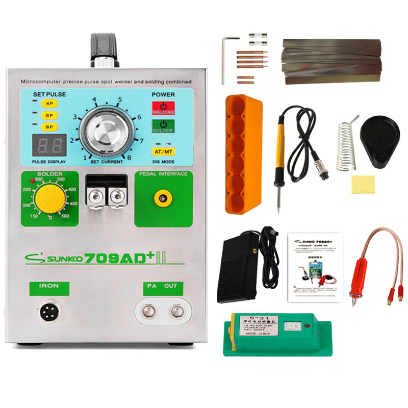 SUNKKO 3.2KW 709AD+ spot welder machine pulse spot welding for 18650 battery pack Production with welding pen and soldering iron
