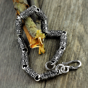 Image 3 - V.YA Black Thai Silver Devanagari Bracelet Mens Six Words Mantra Bracelet Lucky Security Bracelet 925 Sterling Silver Jewelry