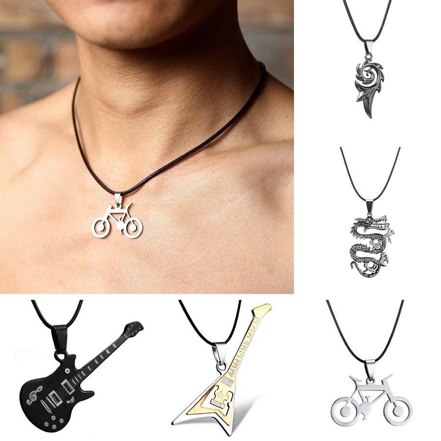 Paslanmaz çelik kolye erkekler için Pop müzik gitar yangın alev ejderha bisiklet kolye erkekler deri zincir gerdanlık kolye takı