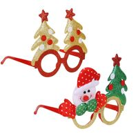 Christmas Plastic Glasses Frame Cute Cartoon Snowman Elk Tree Glitter Eyeglasses U50C