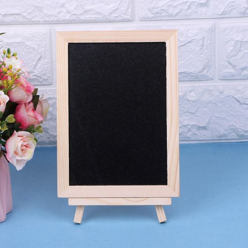 New 18x13cm Wood Tabletop Chalkboard Double Sided Blackboard Message Board Children Kids Writing Black Boards Toy
