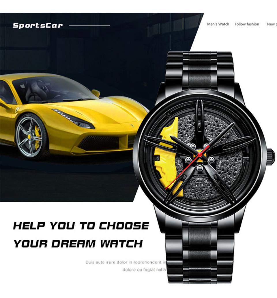 Hfc267683f64f45dc82effb16f809b480m 2020 Nektom Men Watch Sports Car Watch Wheel Rim Design Car