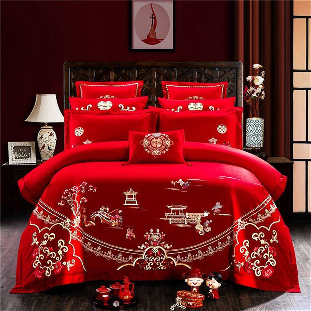 High Quality Bedding Set For Couple Queen King Size Bed Cover Set 4/6pcs Cotton Red Color Soft Of Wedding Quilt Cover Set