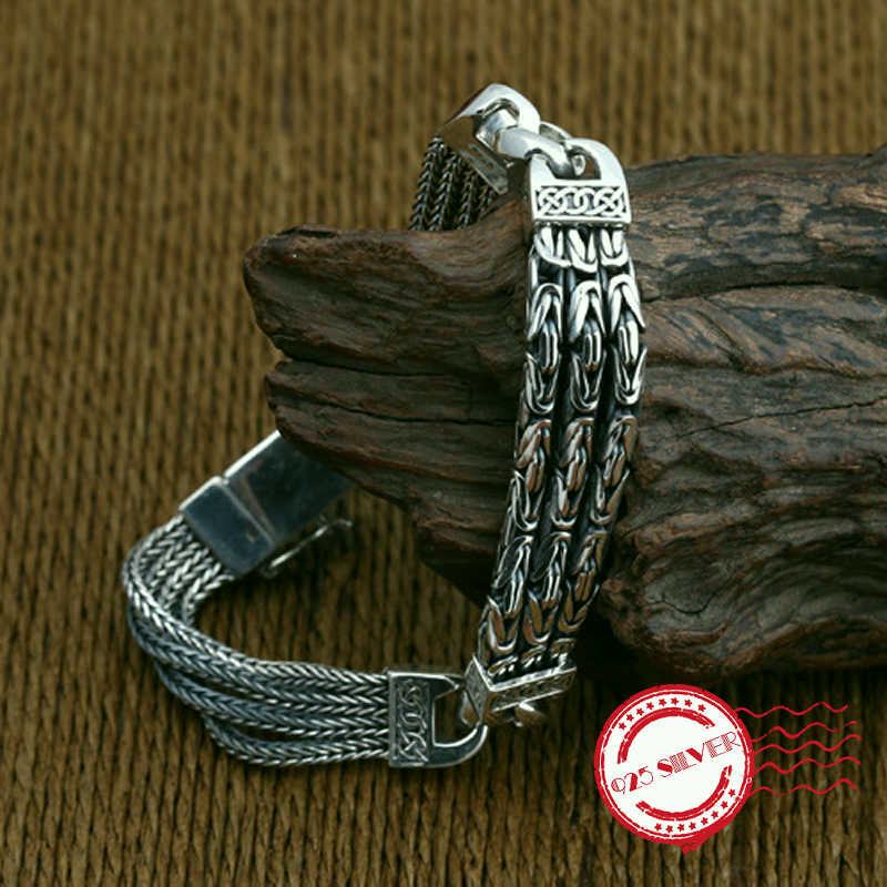 S925 sterling silver men's bracelet personality fashion classic jewelry retro peaceful texture shape 2018 new send lover's gift