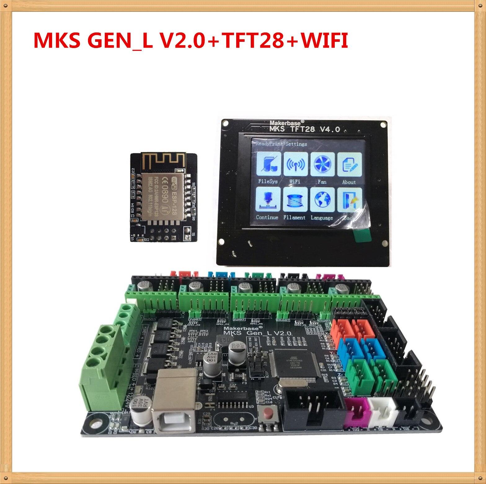 MKS GEN L V2.0 + MKS TFT28 pantalla en color minipanel pantalla táctil barato 3D impresión kits escolares controlador 3d impresora starter unidad
