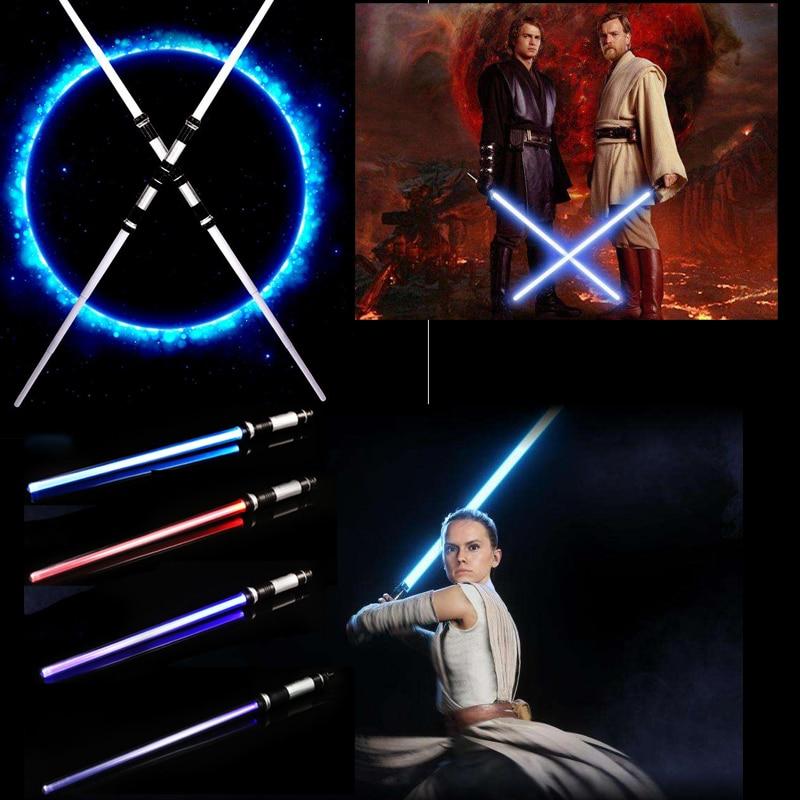 2PCS Double Laser Lightsaber Star Wars Replica Sword With Sound Toys Light Saber Darth Vader Jedi Rey Luke Skywalker Kids Toy