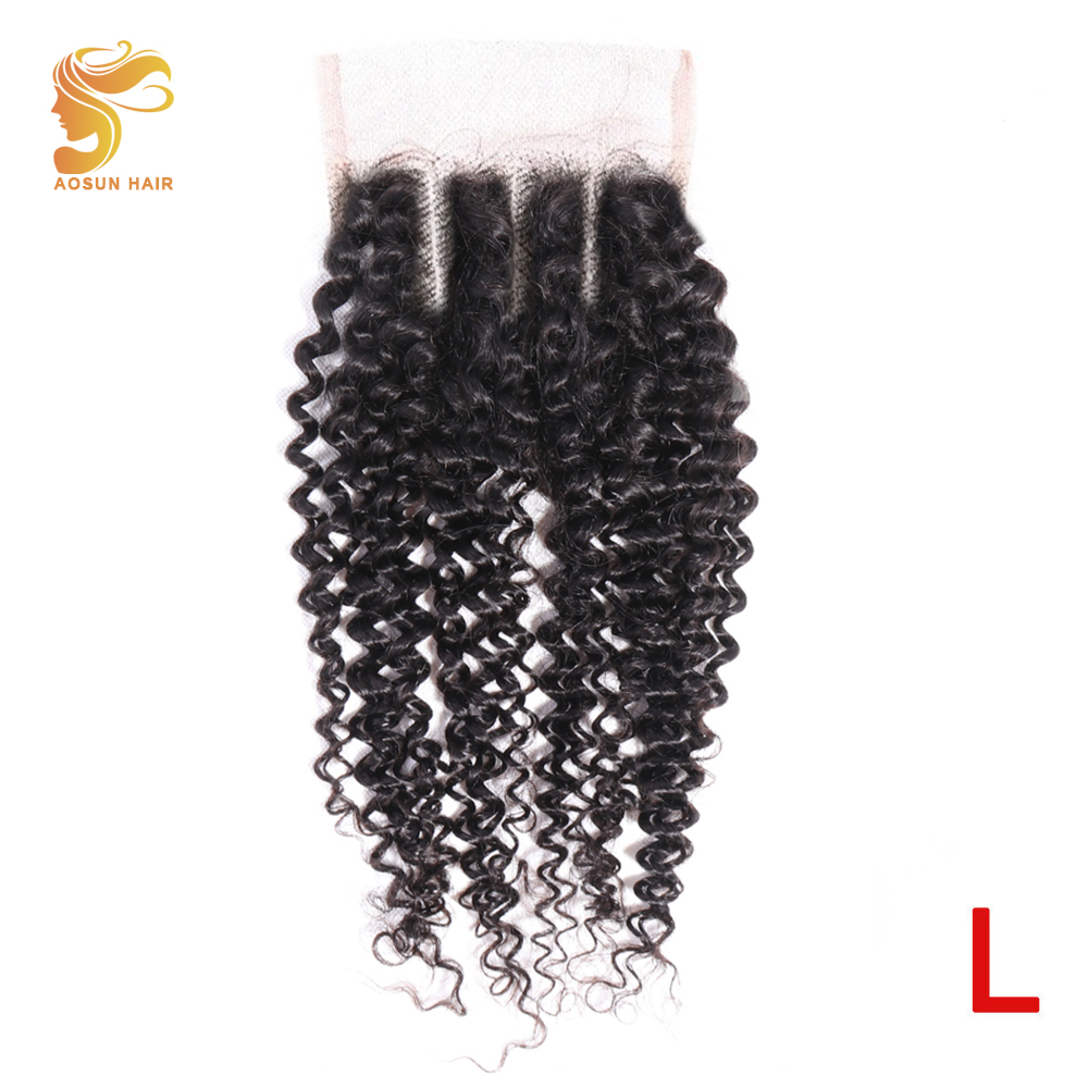 AOSUN HAIR Deep Wave Closure With Baby Hair 4x4 Lace Closure 100% Human Hair Closure Brazilian Remy Hair Weaving Natural Color