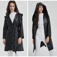 Women Faux Leather Coat Long Trench PU Wind Coats Hooded Windbreaker Lady Winter Black Greatcoat Belt Fashion Plus Size Overcoat