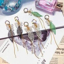 USTAR  Leaf Long Tassel Drop Earrings for women Crystal Ethnic Rhinestone Dangle Earrings female Party Jewelry Brincos