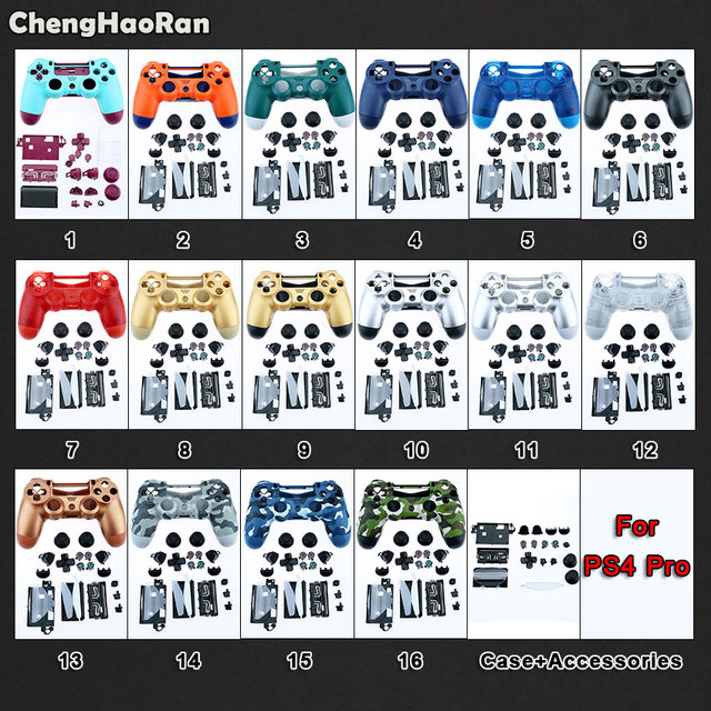 Chenghaorano concha completa com botões, mod kit para sony ps4 pro slim 4.0 v2 JDS 040 jdm 040 controle carcaça capa de proteção