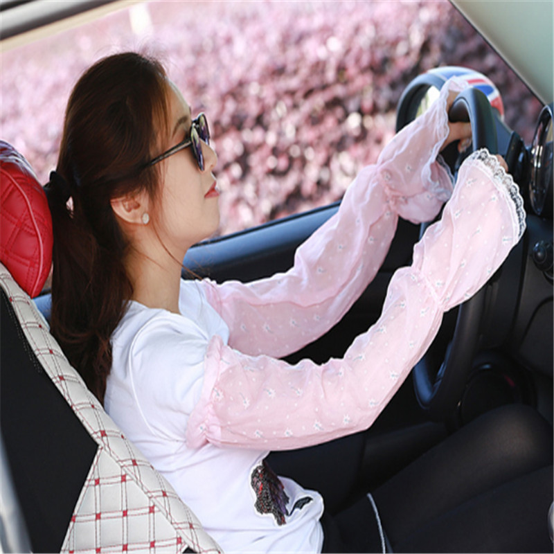 1 Pair Female UV Sunscreen Car Driving Gloves Cuff Hand Protection Women Fingerless Lace Ruffle Floral Long Arm Warmers