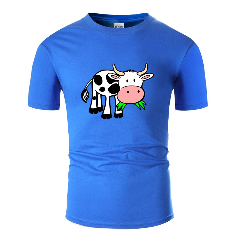 Printed Designs Grasseating <font><b>Cow</b></font> <font><b>T</b></font> <font><b>Shirt</b></font> Graphic Round Neck Awesome Boy Girl <font><b>T</b></font>-<font><b>Shirts</b></font> Plus Size S-5xl Camisas <font><b>Shirt</b></font> image