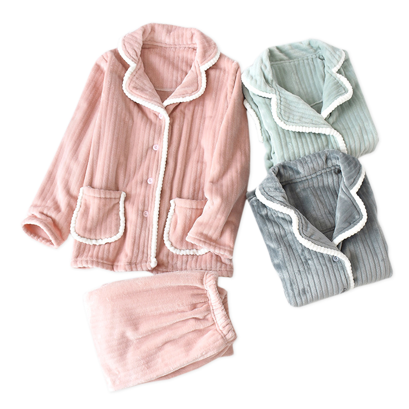 Christmas green Winter keep warm pajamas sets women Japanese flannel women sleepwear long sleeve quality pyjamas women