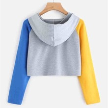 Womens Color Matching Long Sleeve Hoodie Sweatshirt Autumn Casual Loose Hooded Pullover Crop Tops Women's Fashion Sweatshirt цена и фото