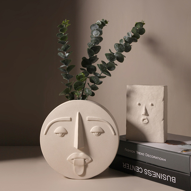 Cutelife White Pottery Ceramics Face Flower Vase Morden Home Decoration Head Glazed Vase Wedding Nordic Tabletop Plant Pot Vase 2