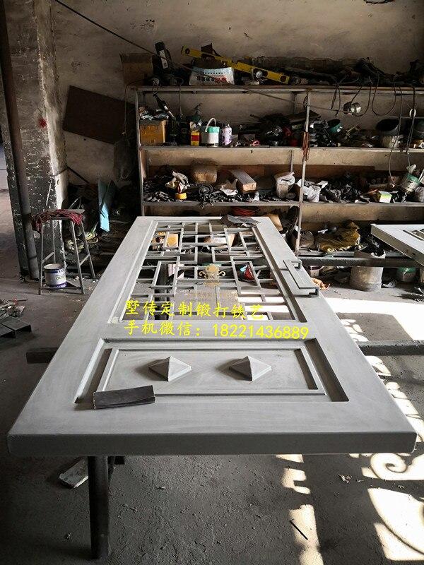 Iron Front Doors CAD Wrought Iron Doors 8mm Clear Glass+ 12 Gauge Steel +8mm Rain Glass Fixed Shipping USA Home Address $6500